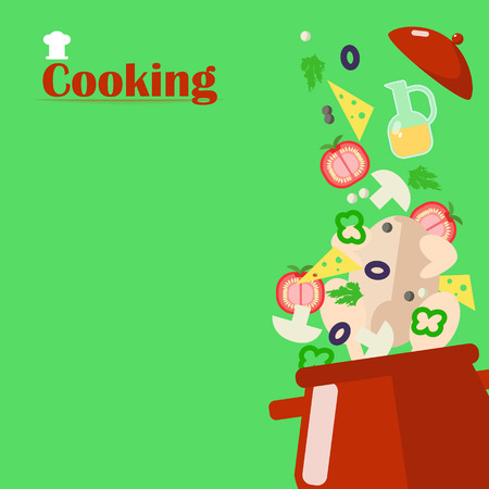 Cooking soup. Ingredients for the soup are falling in a pot. Illustration