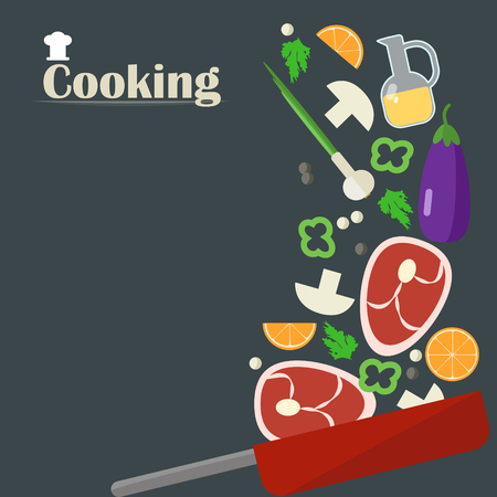Cooking roast meat. Steak with vegetables and spices. Vector