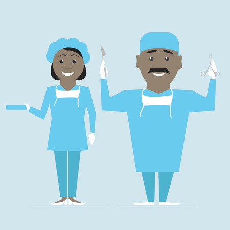 operation for: Surgeon and nurse in uniform ready for operation. Vector