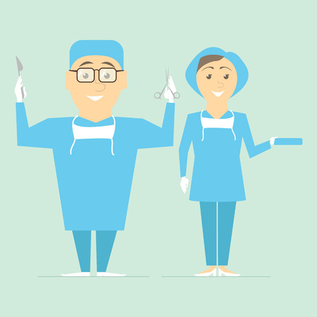 Couple of doctors. Physicians surgeons ready for operation. Vector Illustration