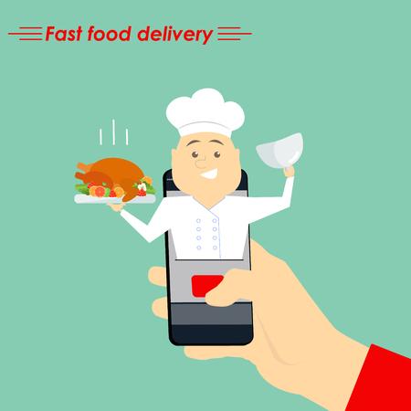 Internet cook. The concept of e-commerce: online food ordering website. Fast food delivery service online courses. Flat vector illustration. Illustration
