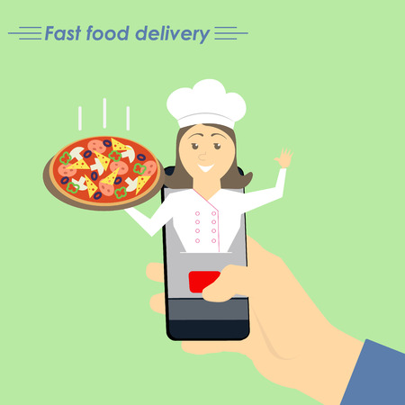 foodstuffs: Online pizza delivery. The concept of e-commerce: online food ordering website. Fast food delivery service online courses. Flat vector illustration.