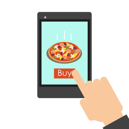 foodstuffs: Pizza Delivery over the phone. Food delivery. Vector