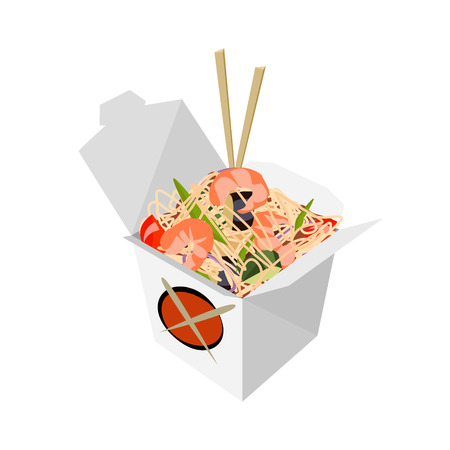 chinese noodles: Paper Box Chinese noodles and chopsticks, WOK. Noodles with shrimp. Food delivery vector