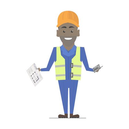 belt up: Builder man African American working. Architecture vector construction work