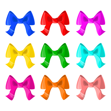 Set of colorful bows. Decoration. Vector