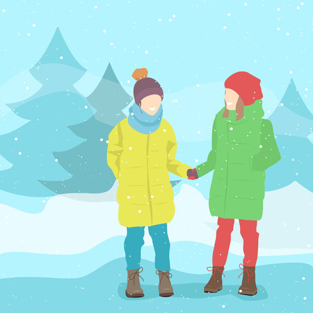 friend nobody: Girl friends in winter clothes. Winter landscape, snow. Vector