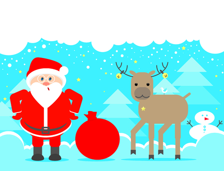 looking up: Santa Claus looking up. Christmas background with reindeer and Santa Claus. Illustration