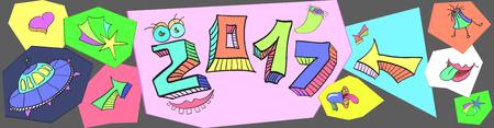 グリーティング カード、招待状、ポスター、パンフレット、バナー、カレンダーのための創造的なデザインをコミック 2017年新年あけましておめでとうございます