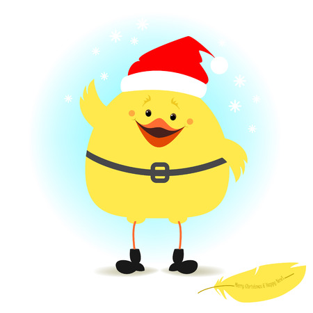 christmas symbol: Christmas chick dressed as Santa Claus. illustration