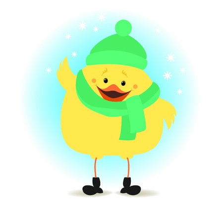 Chicken in winter clothes on the winter background. Christmas illustration