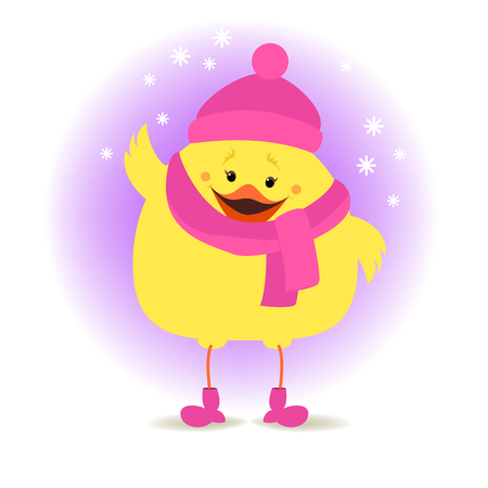 Chicken girl in winter clothes on the winter background. Christmas illustration Illustration