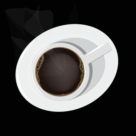 stove top: Cup of hot coffee on a black background.