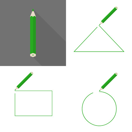 Consumables: Set a framework with pencil. Round, square and triangular frame. Dark green pencil Illustration