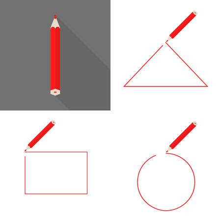 red pencil: Set a framework with pencil. Round, square and triangular frame. Red pencil