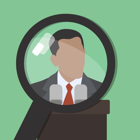 Zoeken. Man onder een vergrootglas. Hier vindt u informatie over bekende wereld persona. groene achtergrond
