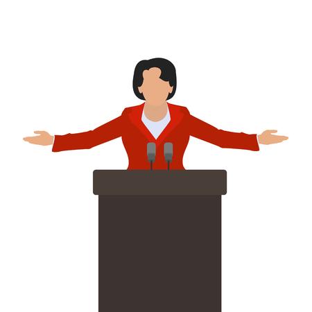 Una mujer política, un altavoz de la mujer en el podio.