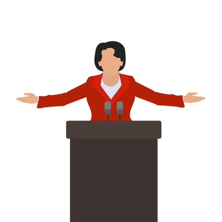 said: A woman politician, a woman speaker on the podium. Illustration