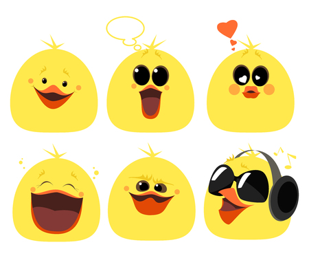 set of emotions chicken. Different characters, anger, laughter, love, music, surprise. cartoon Ilustrace