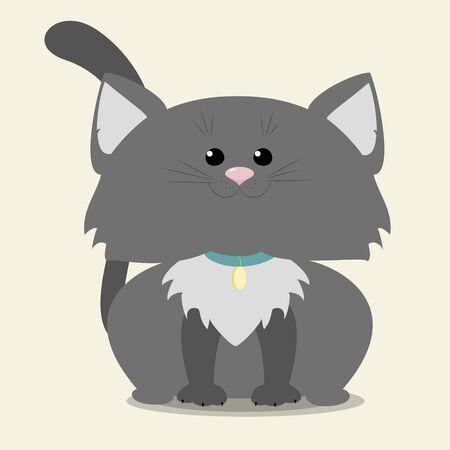 Gray kitten sitting. Vector illustration cartoon Illustration