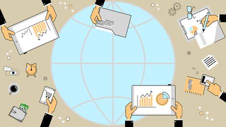 notion d'investissement des entreprises. Analyste d'affaires, les rapports financiers. Vector ligne plate