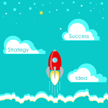 attainment: Business start up. Stages, idea, strategy and success. Vector