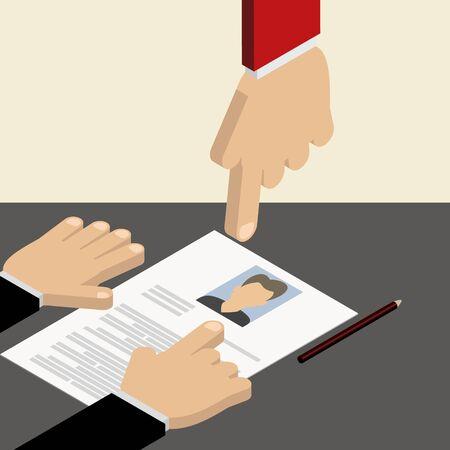 summaries: Search employee. Resume, cv. Vector isometric