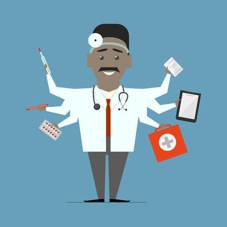 competent: Man multi-doctor. Multitasking. Flat design vector