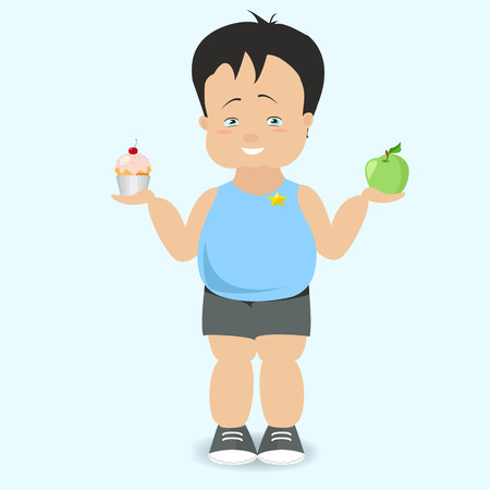 childhood obesity: The boy chooses a healthy lifestyle. The fat kid. Vector cartoon Illustration