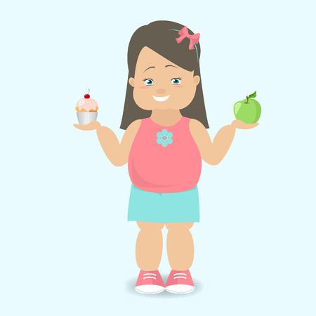 obesidad infantil: La muchacha elige un estilo de vida saludable. El niño gordo. vector de dibujos animados