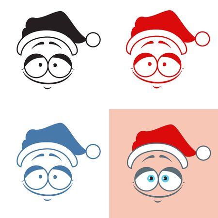 Sticker Santa Claus kind smile. Good. Emotions. Vector set Ilustrace