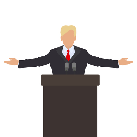 he said: The politician behind the podium. He throws up his hands in greeting. Vector Illustration