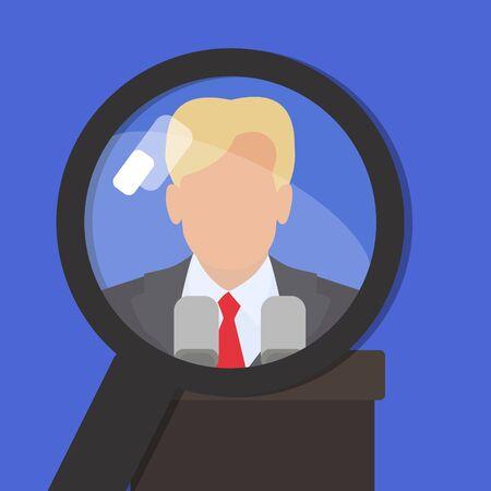 Politican onder een vergrootglas. Vind informatie over de beroemde wereldpersoon. Vector