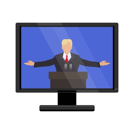he said: Famous person behind the podium on the monitor screen. Vector illustration of flat