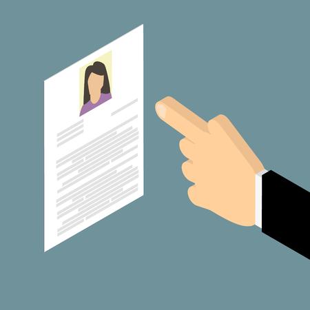 summaries: Search employee. Search woman Caucasian. Resume, cv. Vector isometric
