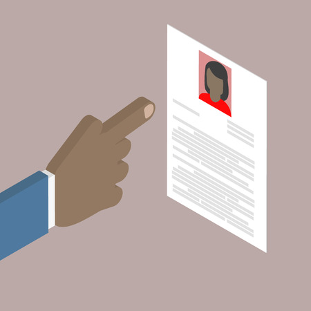 summaries: Search employee. Search woman African American. Resume, cv. Vector isometric