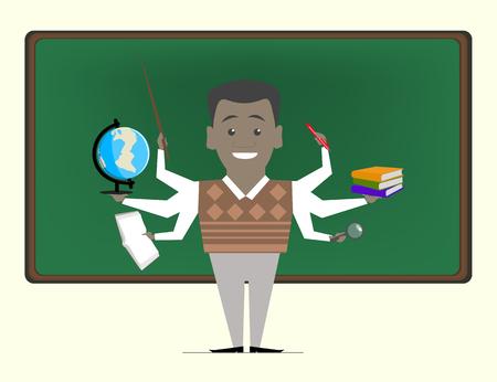 african teacher: Multitasking is a school teacher near blackboard. Concept vektor.Repetitor Illustration