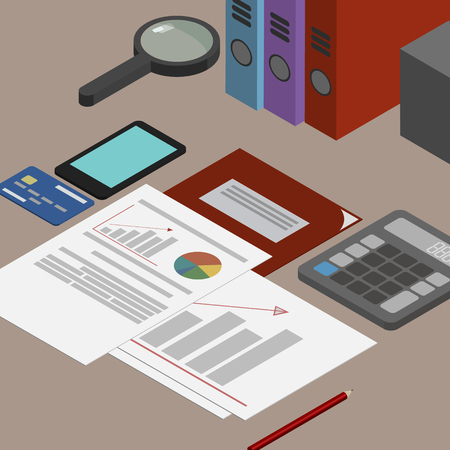 validity: Auditor workplace, accounting documents, the analysis of these reports, the analyst. Desktop isometrics