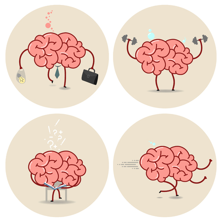 brain works: Brain cartoon vector isolated image set