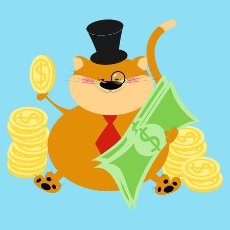 Rich thick red cat. Finance, cat banker. Cartoon vector