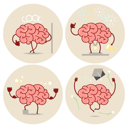 first job: Brain cartoon, different types of victories. Vector isolated set of images Illustration