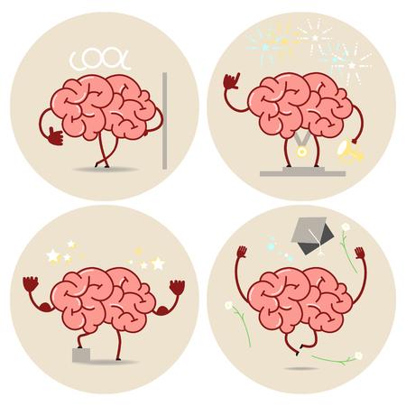 cartoon cerveau, différents types de victoires. Vecteur isolé ensemble d'images Vecteurs