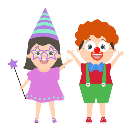 carnival costume: Children in carnival clown costume and a fairy. Vector cartoon Illustration