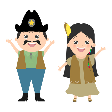 pocahontas: Children in carnival costumes and cowboy Pocahontas. Wild West, cowboys and Indians. Vector cartoon