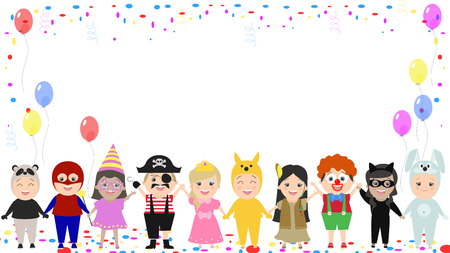 Childrens festive background. Children in different carnival costumes. Vector cartoon Illustration