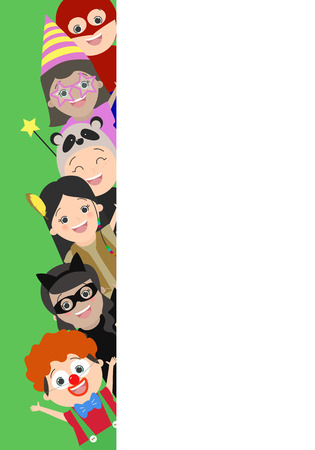 look out: Background with children who look out from behind a corner. Children in carnival costumes. Vector cartoon