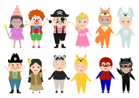 Children in carnival costumes, set, isolated on white background. Vector cartoon