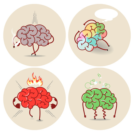 brain works: Brain cartoon, various kinds of bad habits. Anger, addict, poisoning, smoking. Vector isolated set of images