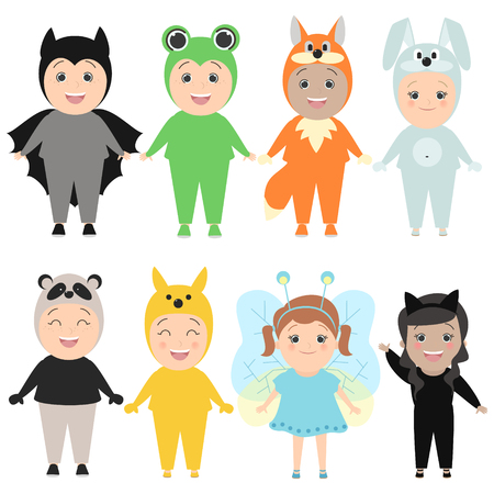 Children in costumes of animals. Carnival costumes, hare, fox, butterflies, cats, pandas, frogs. Vector cartoon set Illustration