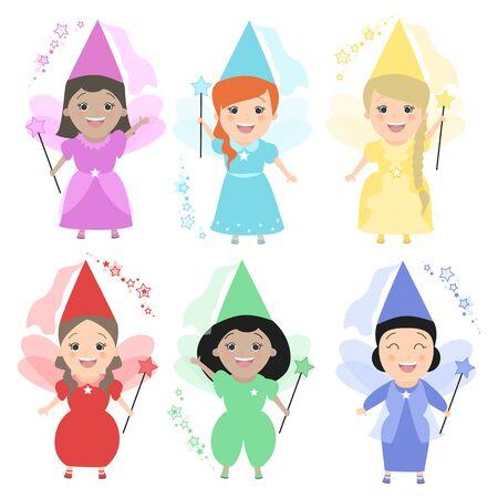 The girls fairies. Set of girls in costume fairies. Vector cartoon